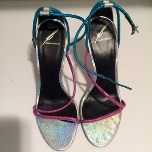 Brian Atwood Silver Blue Pink Flabrea Sandals, 8.5